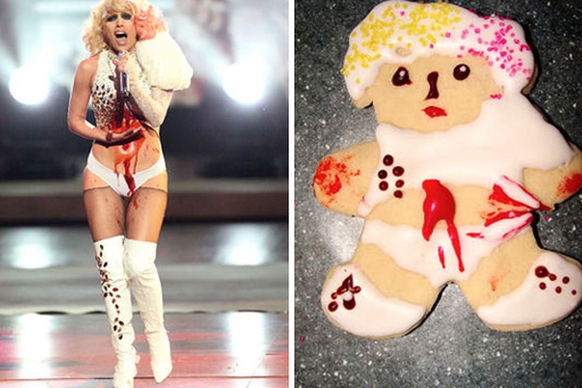 """One of them worries about the Fame Monter, the other worries about the Cookie Monster. Image via<a href=""""http://www.huffingtonpost.com/2010/01/25/lady-gaga-cookies-fan-goe_n_435257.html?slidenumber=bfCRP%2BWQSY0%3D""""> Huffington Post</a>."""
