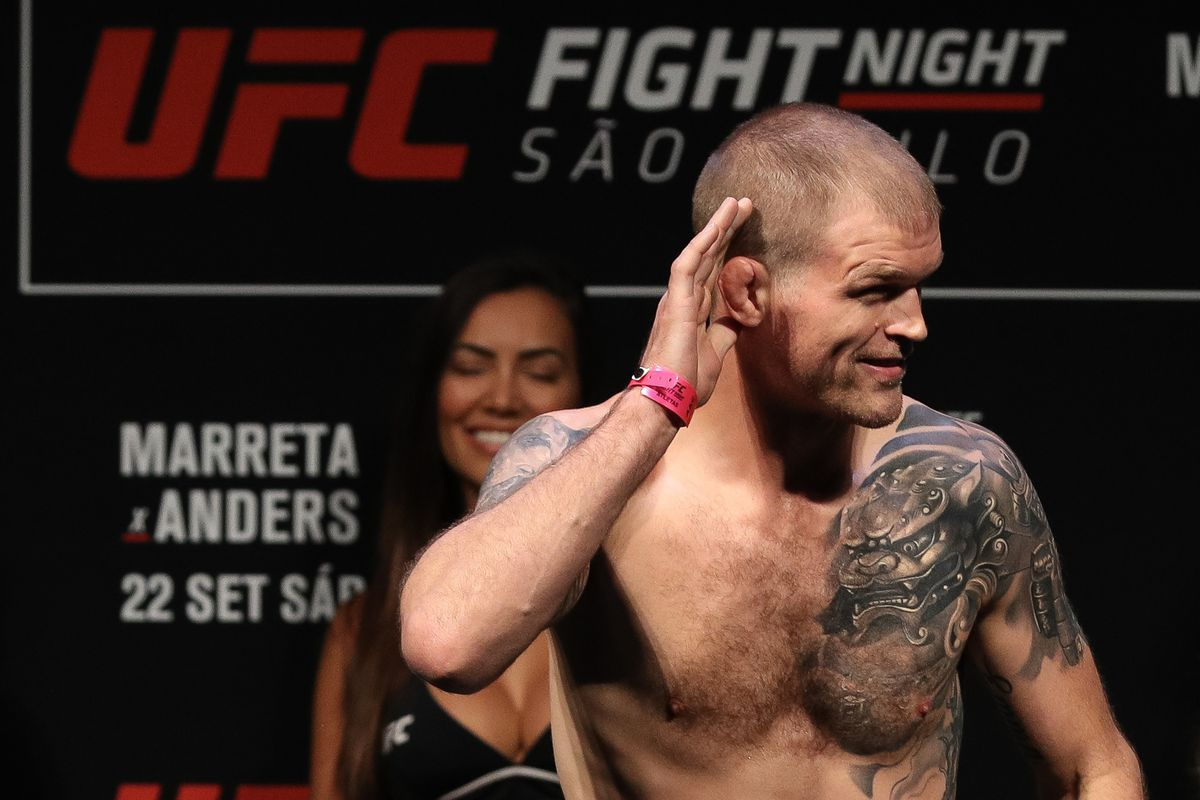 Evan Dunham of the United States poses on the scale during the UFC Fight Night weigh-in at Ibirapuera Gymnasium on September 21, 2018 in Sao Paulo, Brazil.