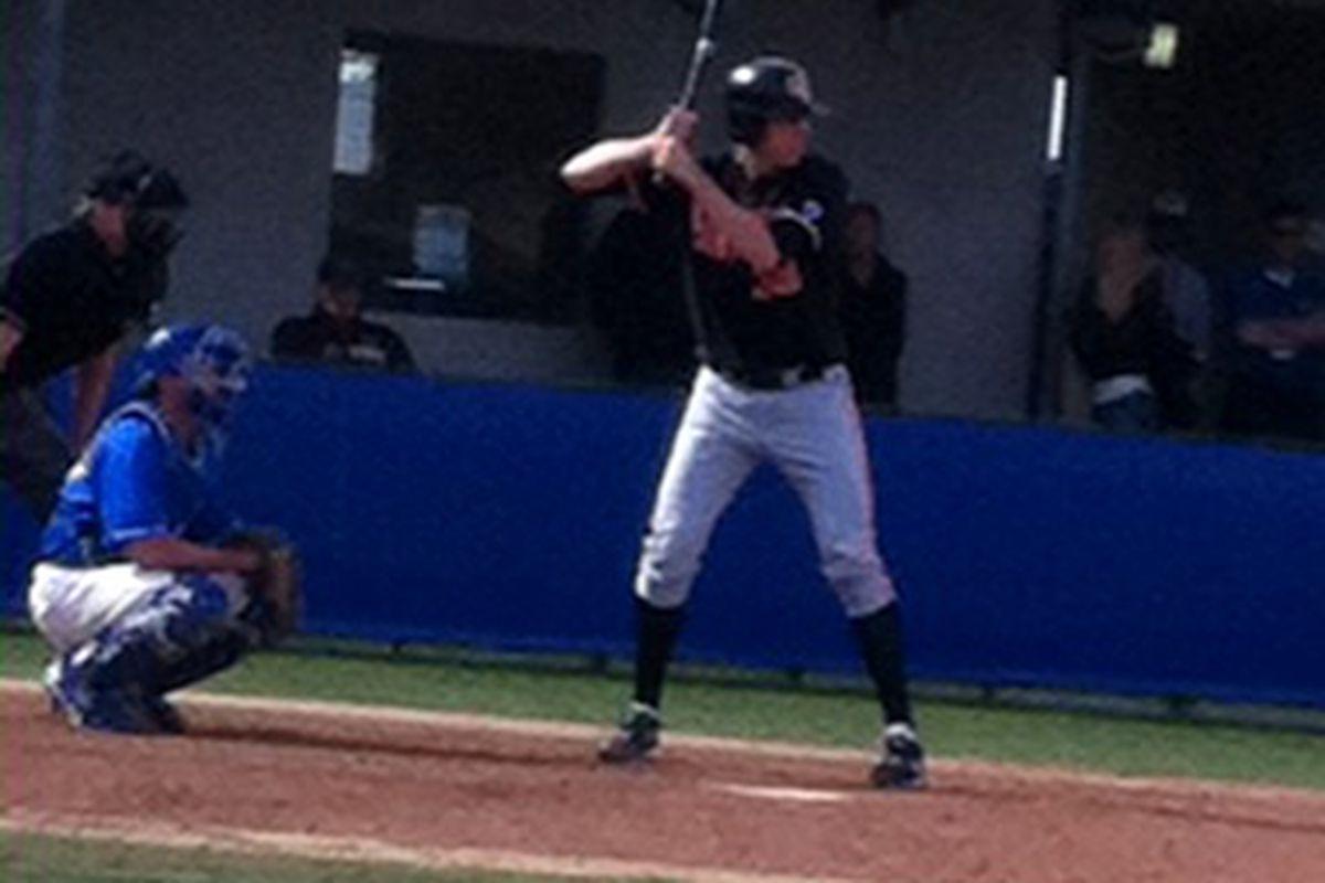 The Beavers' Tony Bryant even took a turn at batting against the Gauchos. <em>(Josh Therrien photo)</em>