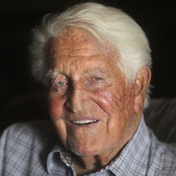 Sy Kimball poses for a portrait one day after his 98th birthday at his home in Provo on Monday, Oct. 11, 2021. Kimball has been a generous donor to BYU Athletics over the years.