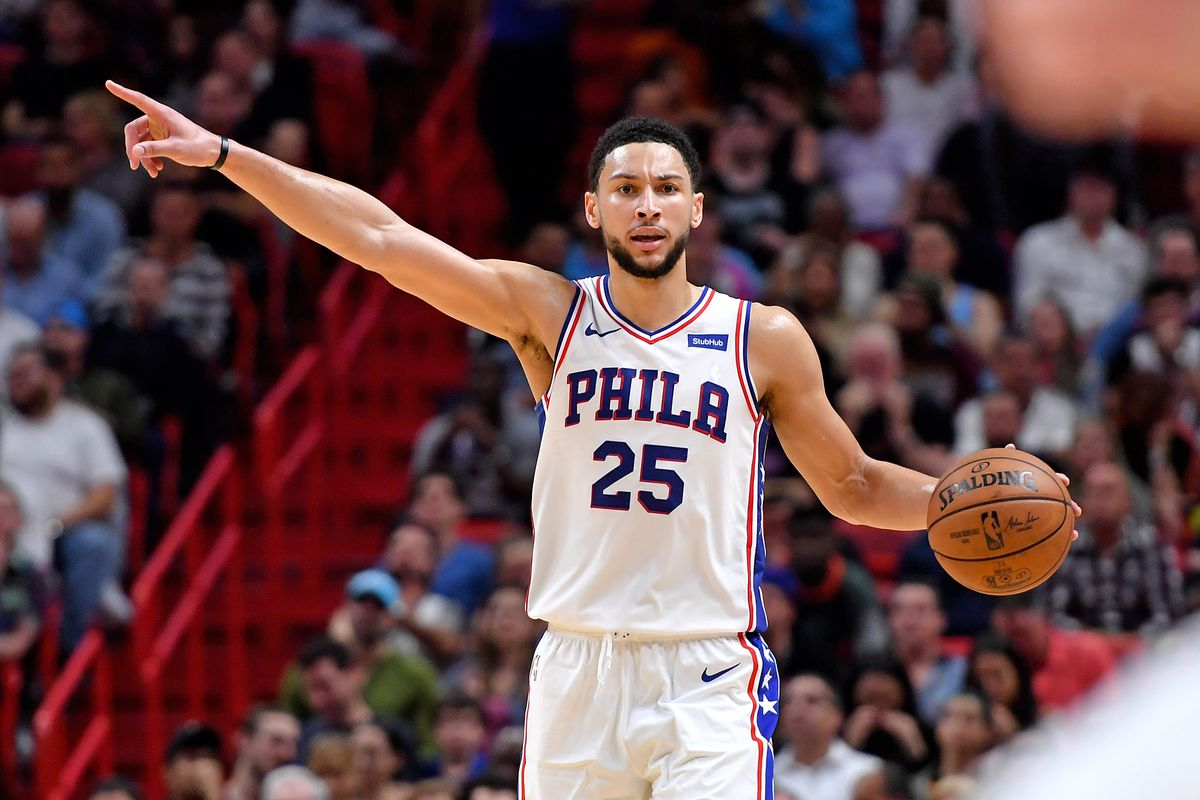 Philadelphia 76ers guard Ben Simmons reacts against the Miami Heat during the second half at American Airlines Arena. The Heat won in overtime.