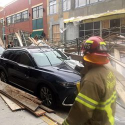 Salt Lake City police and fire respond to an industrial accident where a scaffolding collapsed at The Gateway shopping, 49 N. Rio Grande, Thursday,  Dec. 15, 2016.