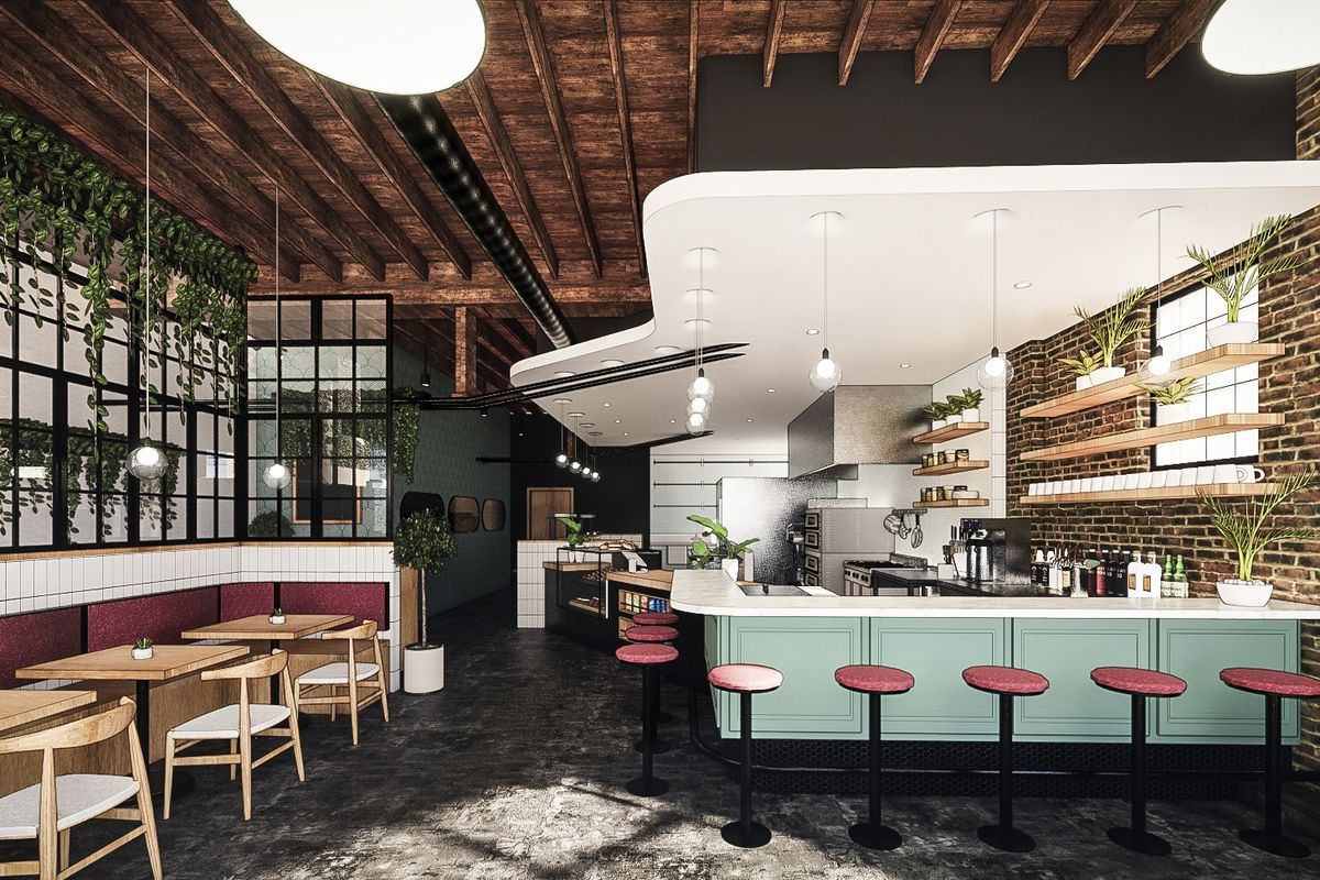 A rendering of the interior of the planned Fox Run Cafe showing the counter with an option kitchen behind it and stools along it as well as a few tables in the small dining space