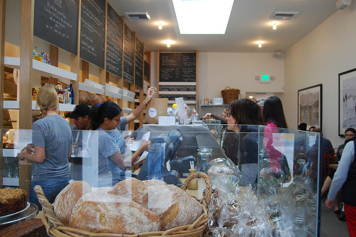Inside a packed (and well-staffed) Huckleberry.