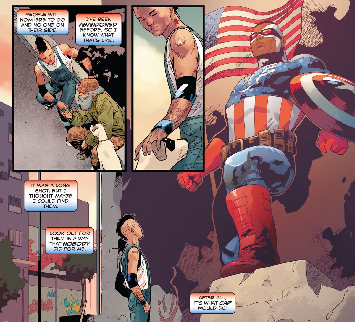 Aaron Fischer muses on how he helps people because it's what Captain America would do, as he looks up at a mural of Sam Wilson in his Captain America costume in United States of Captain America #1 (2021).