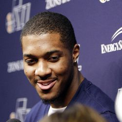 Utah Jazz forwardcenter Derrick Favors (15) talks with media Utah Jazz players clean out their lockers after being swept in the first round of the NBA playoffs in Salt Lake City  Tuesday, May 8, 2012.