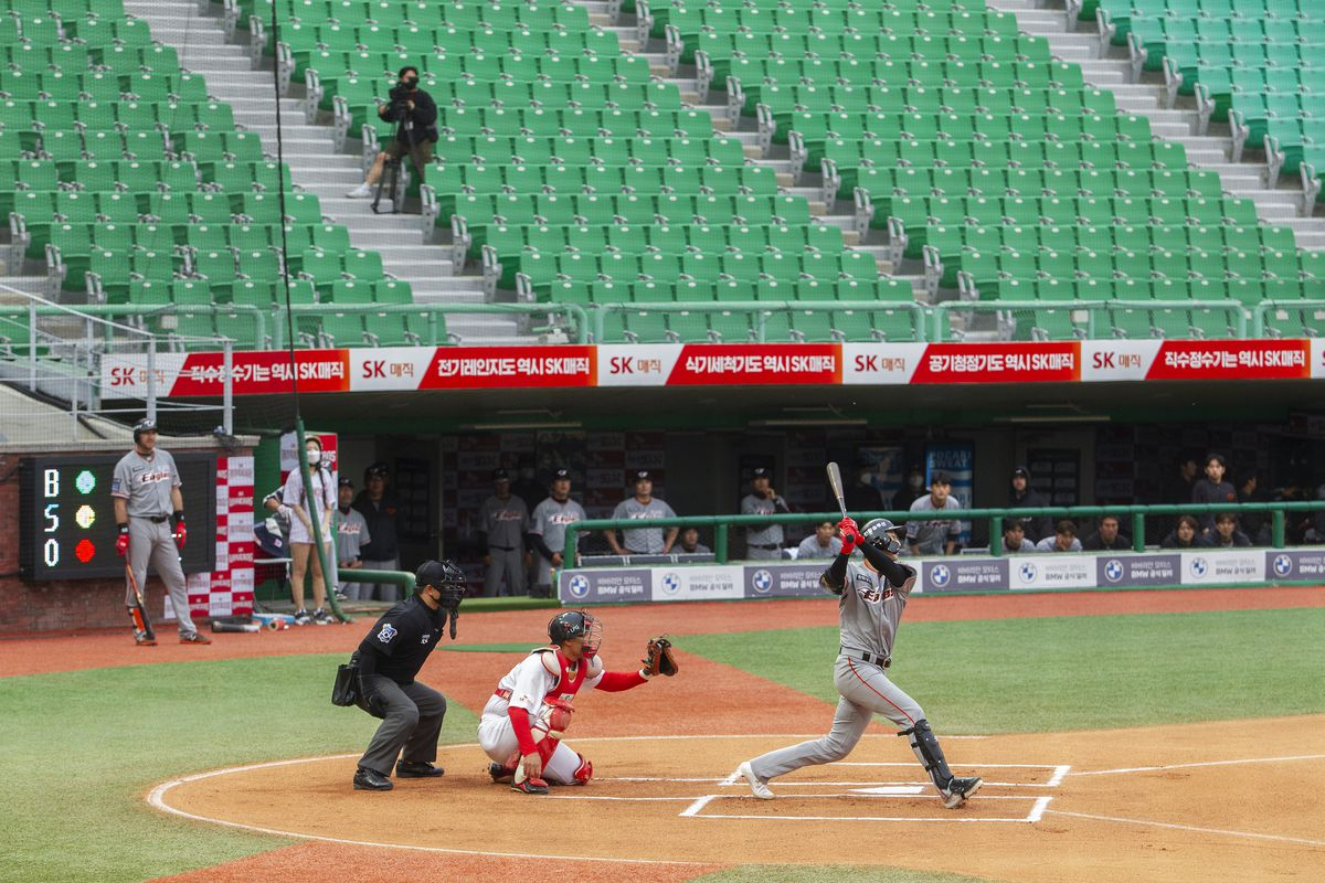 Players in action during a baseball game between SK Wyverns and Hanwha Eagles at SK Wyverns club's Happy Dream Ballpark without spectators due to the novel coronavirus pandemic on May 7, 2020 in Incheon, South Korea.