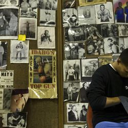 Hundreds of photographs and newspaper clippings from the world championship careers of the Fullmer brothers are tacked to the walls at the Fullmer Brother's Boxing Gym in West Jordan.