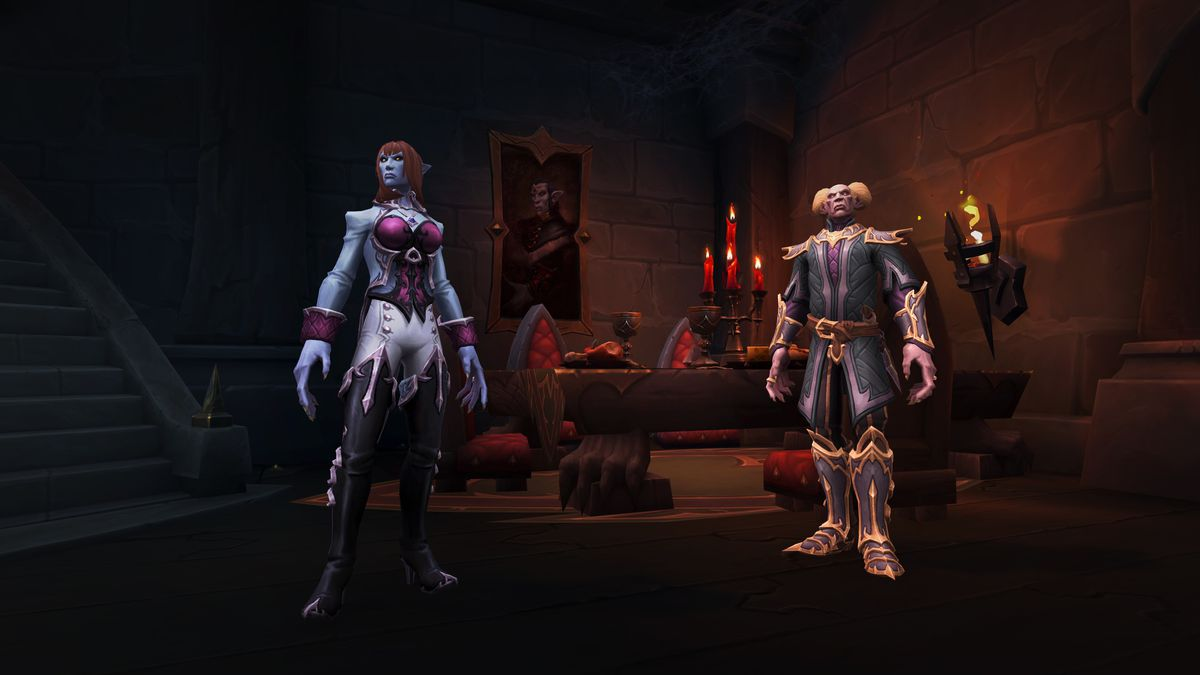 World of Warcraft - two Venthyr characters stand in the Revendreth zone