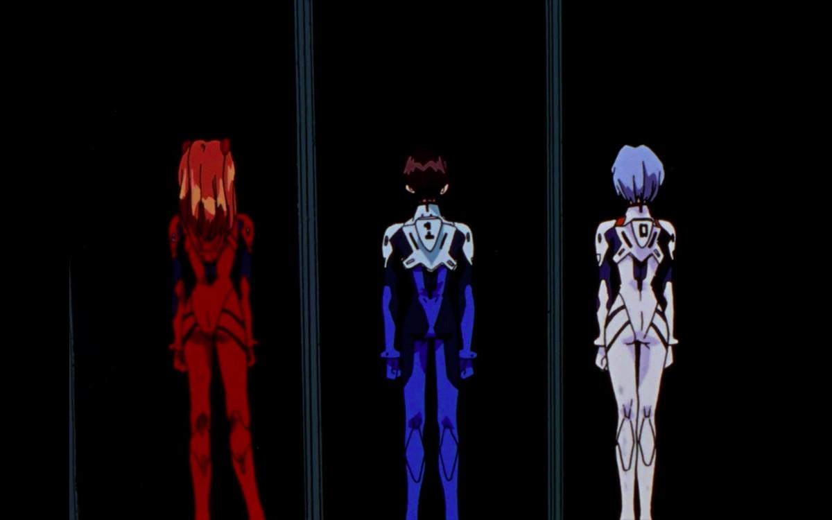 Shinji, Asuka and Rei in Evangelion.