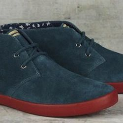 """<strong>Fred Perry </strong> Byron Suede Mid in Dark Teal/Mustard, <a href=""""http://www.fredperry.us/footwear/mens/byron-suede-mid-b3131.html"""">$110</a>"""