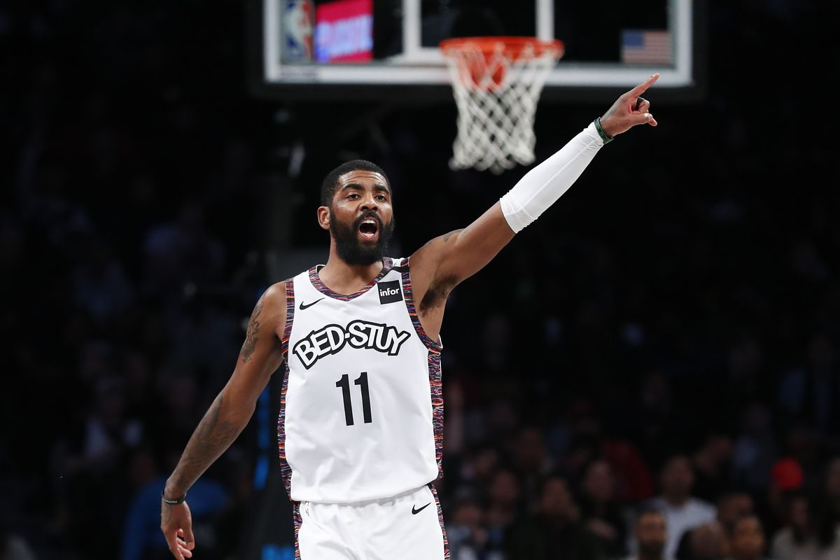 Brooklyn Nets guard Kyrie Irving reacts after scoring against the Chicago Bulls during the second half at Barclays Center.