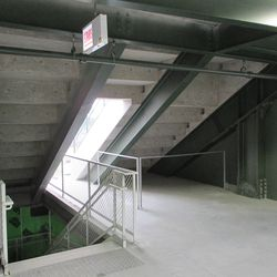 """6:26 p.m. Another view of the bleacher aisle """"tunnel"""" under the right-field porch -"""