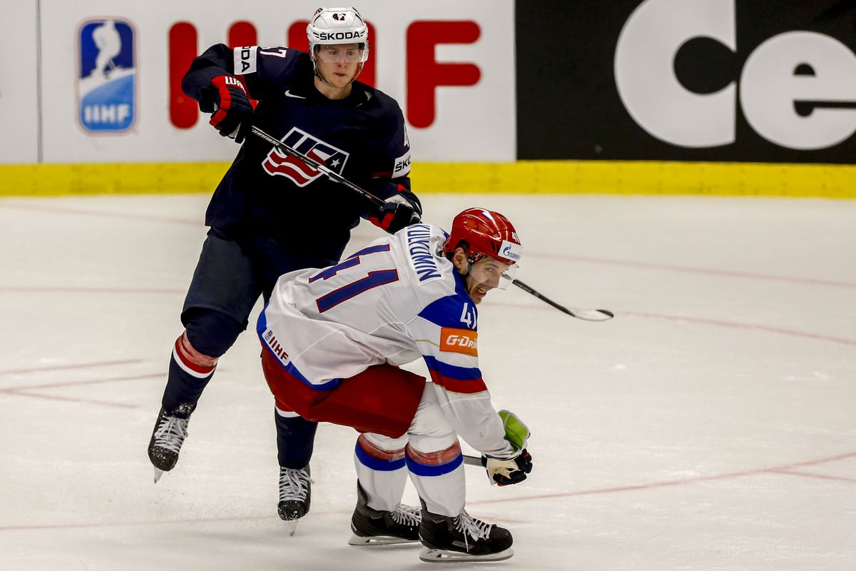Тори Круг in action for Team USA against Russia (Torey Krug)