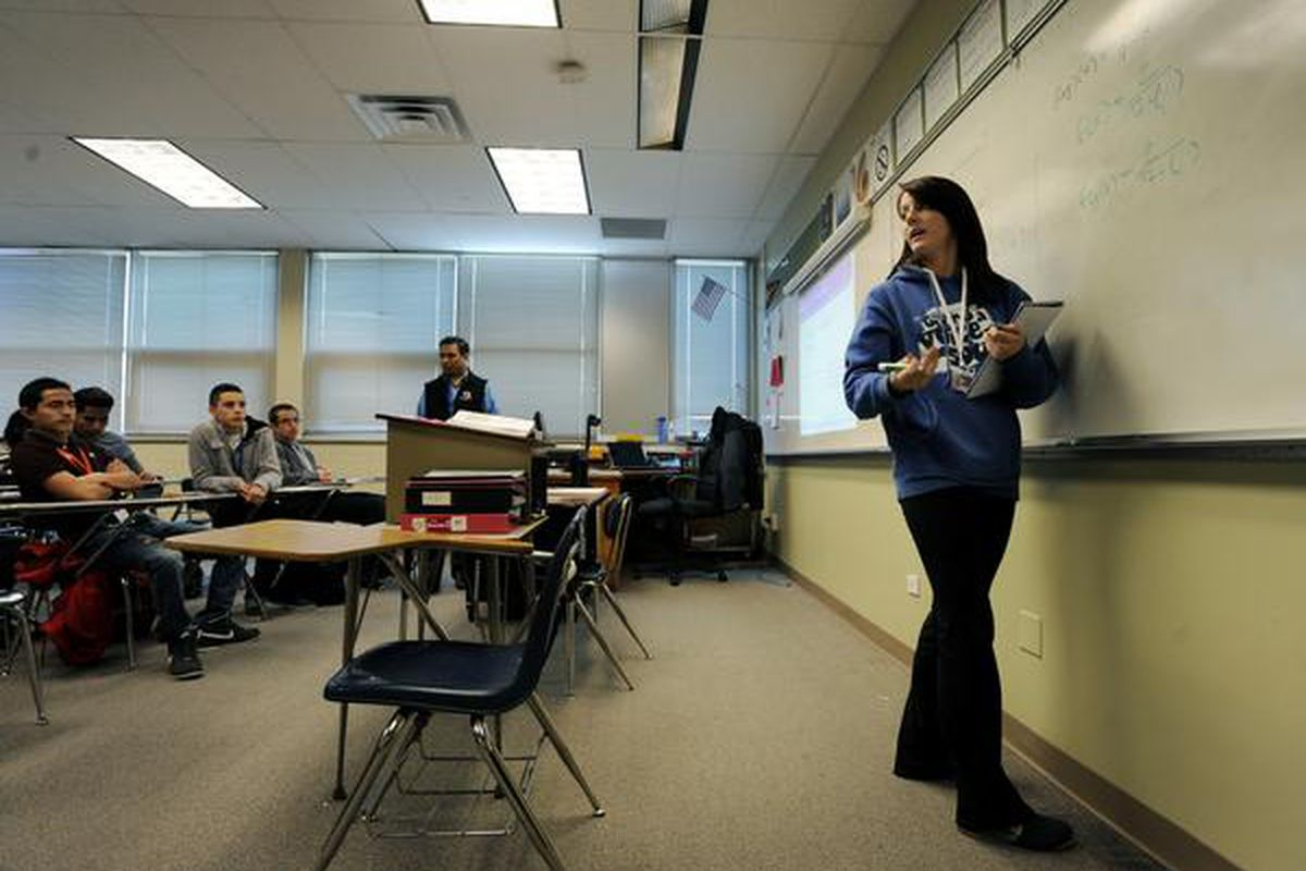 A college algebra course at Hinkley High School in Aurora. (Photo by Jamie Cotten, Special to The Denver Post).