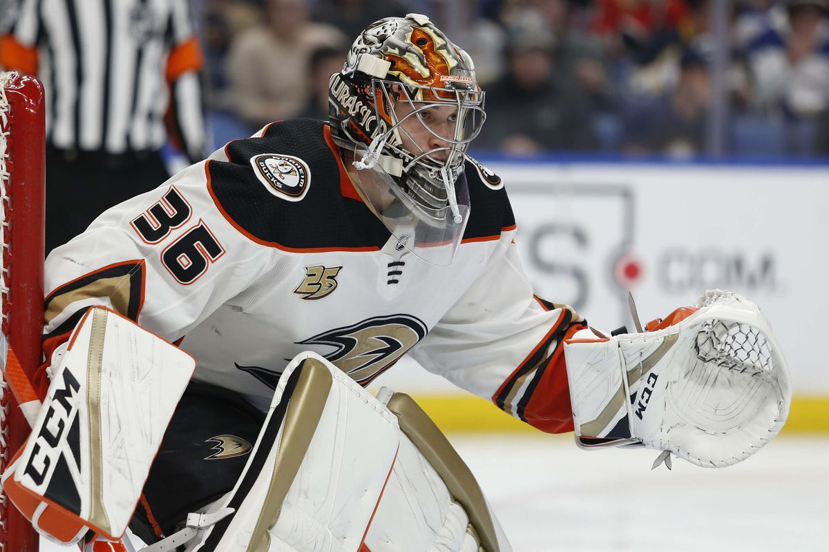 Dec 22, 2018; Buffalo, NY, USA; Anaheim Ducks goaltender John Gibson (36) looks for the puck during the second period against the Buffalo Sabres at KeyBank Center. Mandatory Credit: Timothy T. Ludwig