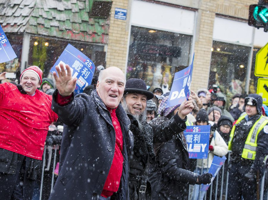 Mayoral candidate Bill Daley in the 2019 Chinese New Year Parade earlier this month. File Photo. | James Foster/For the Sun-Times