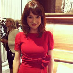"""Ellie Kemper (wearing Valentino) was super nice and super happy that we complimented her hair: """"It's been a subject of controversy, so that really means a lot."""""""