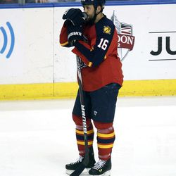 Florida Panthers' Marco Sturm stands alone after the New Jersey Devils won during the second overtime period of Game 7 in a first-round NHL Stanley Cup playoff hockey series in Sunrise, Fla., Thursday, April 26, 2012. The Devils won 3-2.