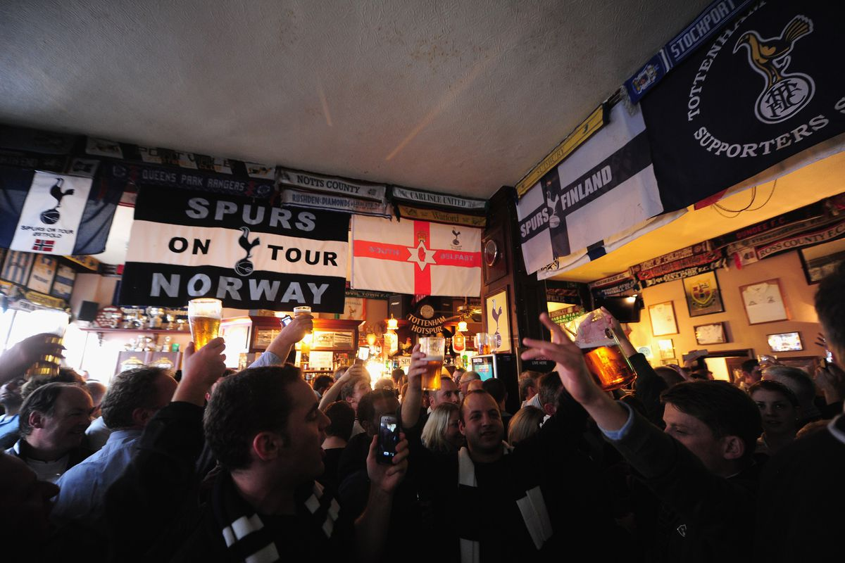 Tottenham fans take in a pint at the Bricklayer Pub in London ahead of last week's match vs. Norwich.
