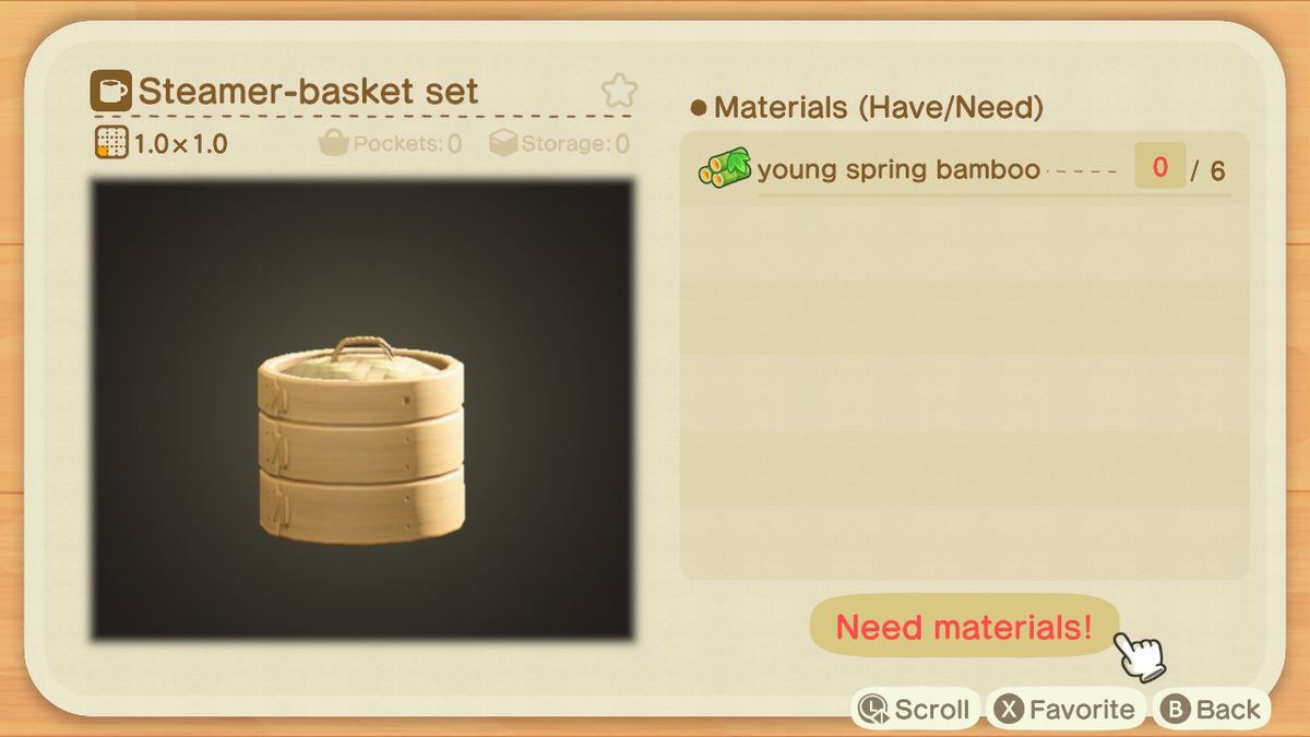 An Animal Crossing crafting screen for a Steamer-basket set