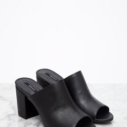 """Faux Leather Peep-Toe Mules, <a href=""""http://www.forever21.com/Product/Product.aspx?BR=f21&Category=shoes&ProductID=2002246916&VariantID="""">$32.90</a>"""