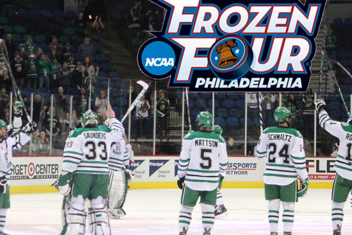 Schmaltz, UND are just two wins away from the national championship. Photo by