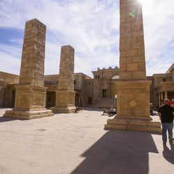 """Executive producer Derral Eves shows off the set during filming of a faith-based streaming series on the life of Jesus Christ called """"The Chosen"""" at The Church of Jesus Christ of Latter-day Saints' Jerusalem set in Goshen, Utah County, on Monday, Oct. 19, 2020."""