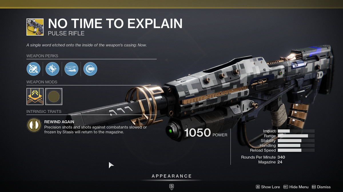 The No Time To Explain Exotic weapon from Destiny 2