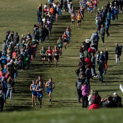 Runners compete in the 1A boys cross country championship at Sugar House Park in Salt Lake City on Wednesday, Oct. 23, 2019.