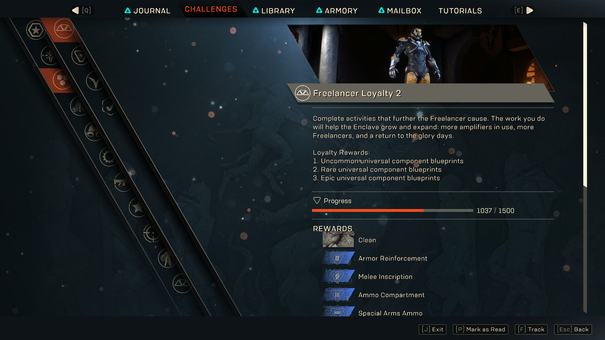 Freelancer faction loyalty and rewards screen in Anthem
