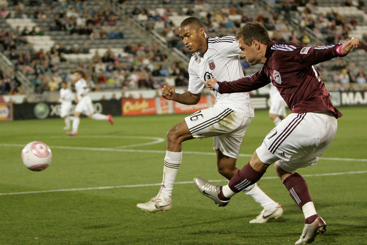 COMMERCE CITY CO - OCTOBER 02:  Jamie Smith #20 of the Colorado Rapids sends a cross into the box past Jordan Graye #16 of D.C. United at Dick's Sporting Goods Park on October 2 2010 in Commerce City Colorado.  (Photo by Justin Edmonds/Getty Images)