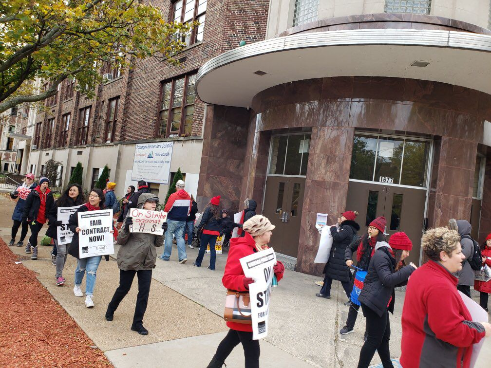 Chicago Public Schools teachers joined Passages charter school teachers as they began their own strike Oct. 22, 2019.