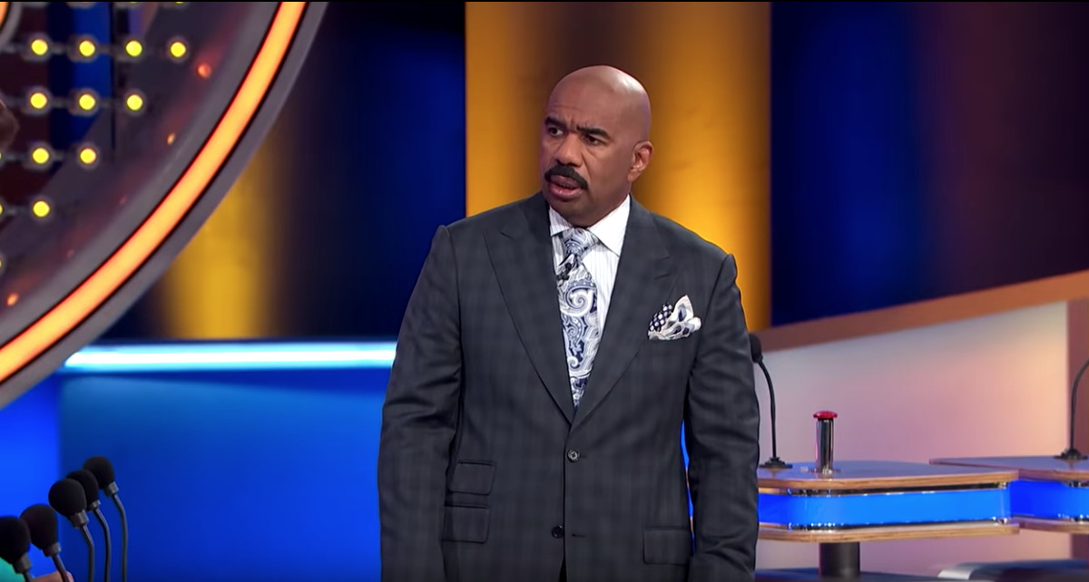 "Steve Harvey, as host of Family Feud, dumbfounded by pro gamer Tyler ""Ninja"" Blevins' career description."