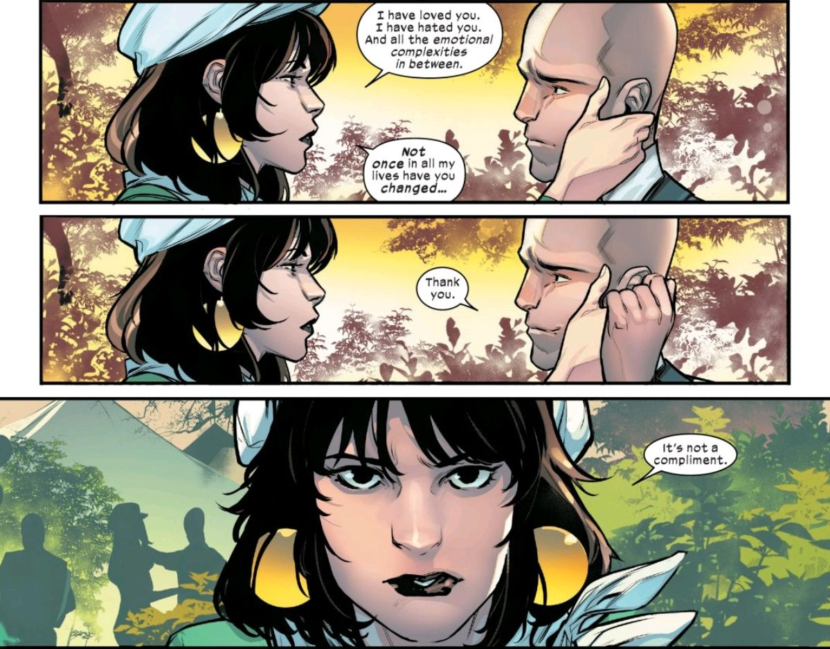 Moira tells Professor X that she has loved and hated him in her lifetimes, and not once has he ever changed. She does not mean it as a compliment. Powers of X #6, Marvel Comics (2019).
