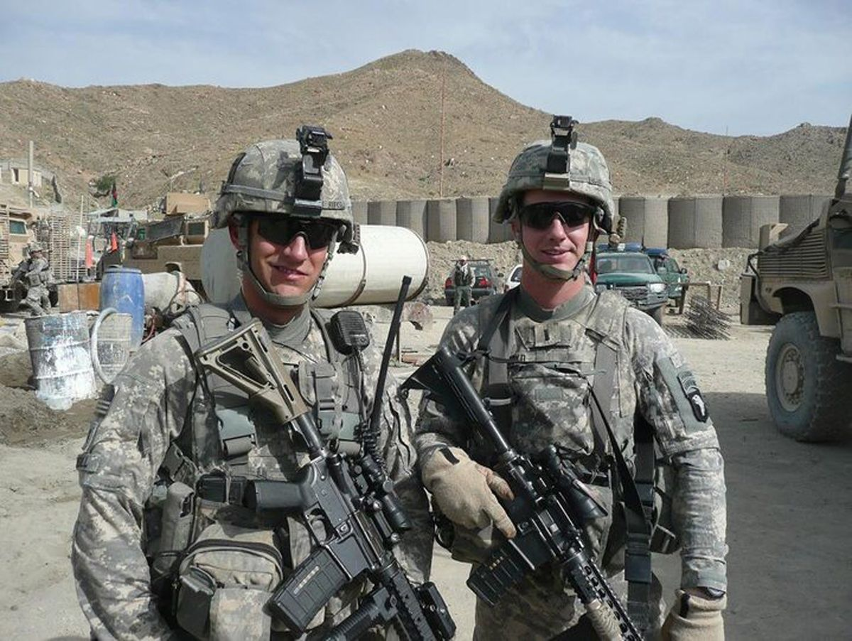 Then-Lieutenant Jim Rudisill (left) and Capt. Christopher Boyd in 2010 in Khost Province, Afghanistan.