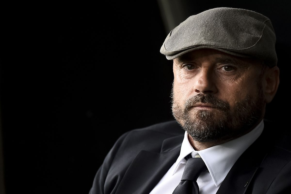 Gianluca Petrachi, sporting director of AS Roma, looks on...