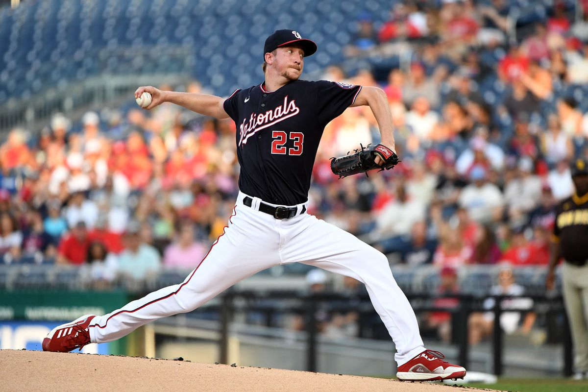 Erick Fedde #23 of the Washington Nationals pitches against the San Diego Padres at Nationals Park on July 16, 2021 in Washington, DC.