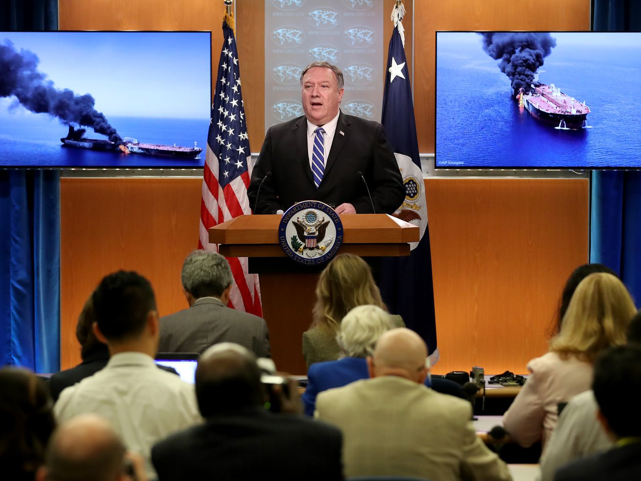 US Secretary of State Mike Pompeo briefs reporters on the suspected attacks on two oil tankers in the Gulf of Oman at the State Department on June 13, 2019, in Washington, DC.