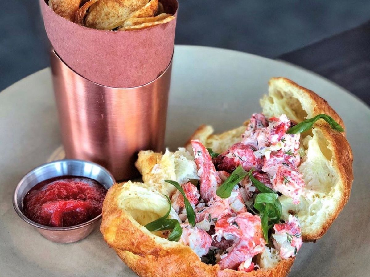 The lobster-piled popover at Woods Hill Pier 4