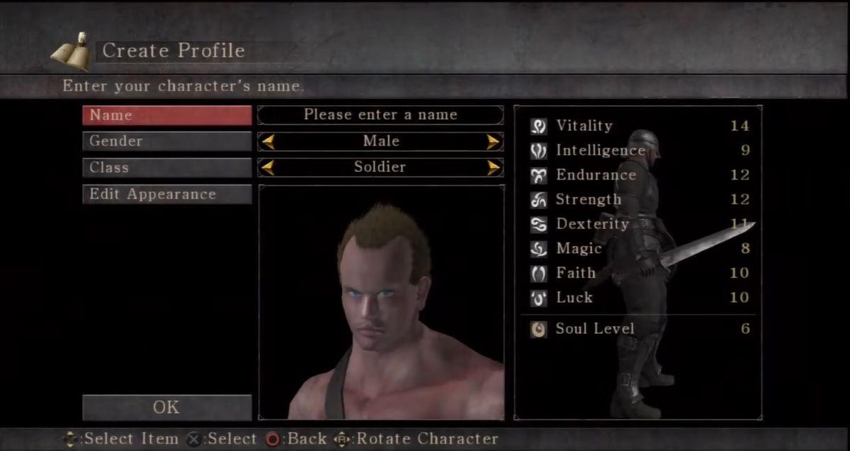 Demon's Souls original character creation menu