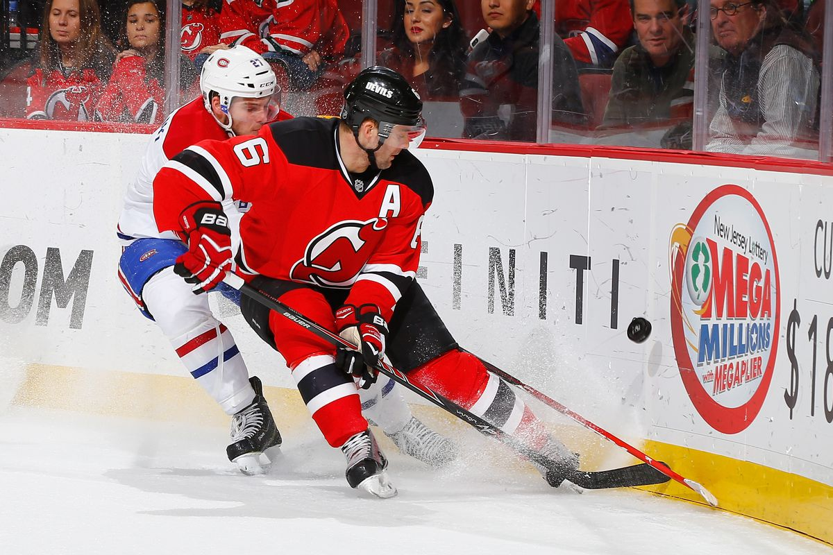 Andy Greene looks to lead the Devils past Alex Galchenyuk and the Canadiens.