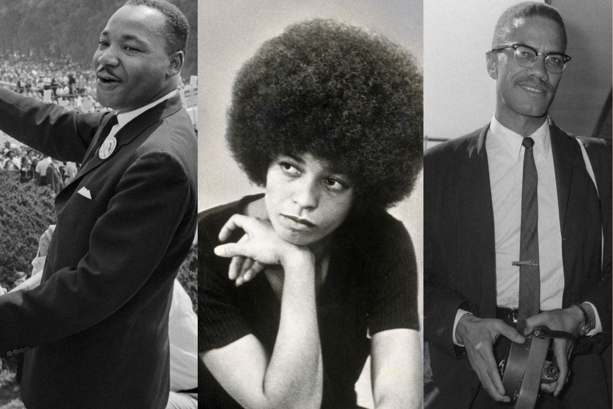 Dr. Martin Luther King, Angela Davis, and Malcolm X