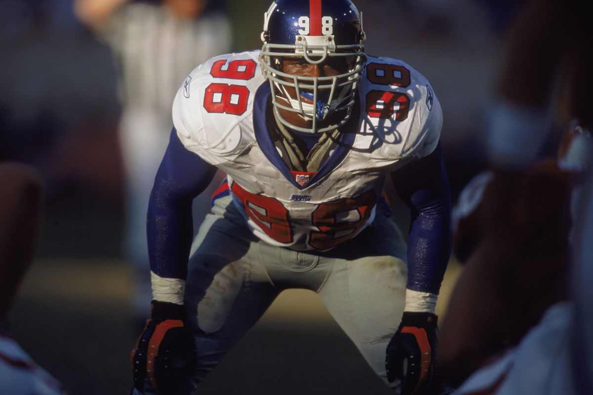 Offensive Line Backer Jessie Armstead #98 of the New York Giants