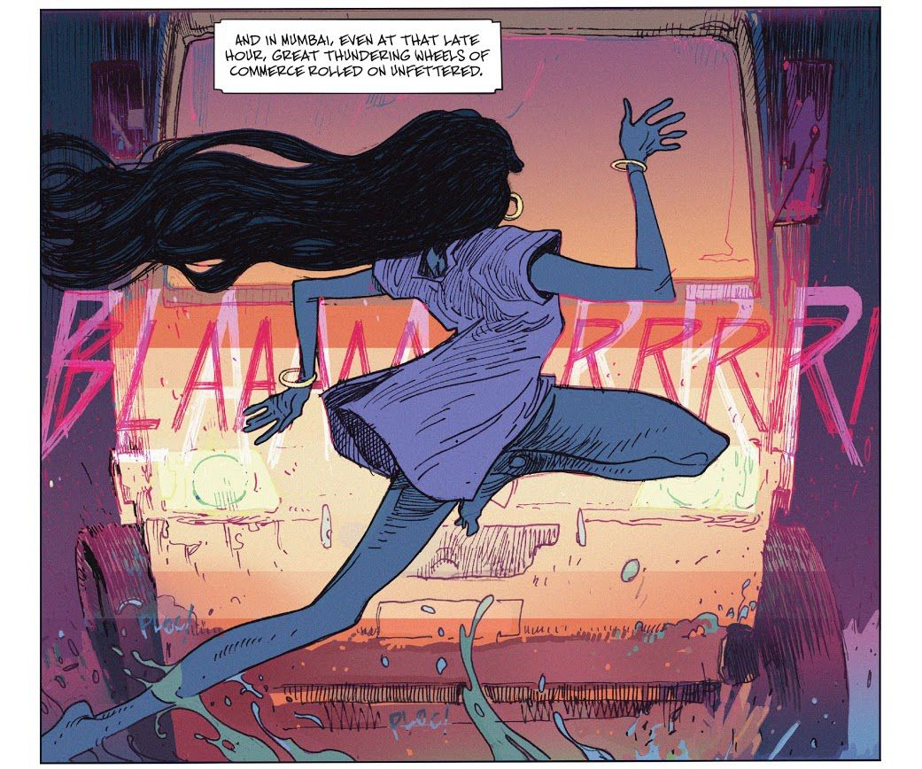 A woman with flowing black hair, wearing a hospital gown, hoop earings and bracelets, leaps gracefully and unaware into the path of a freight truck blaring its horn in bright purple letters in The Many Deaths of Laila Star #1, Boom Studios (2021).