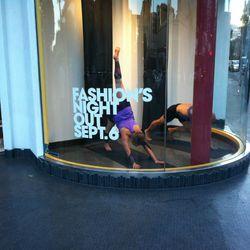 Yoga in the window at Lululemon