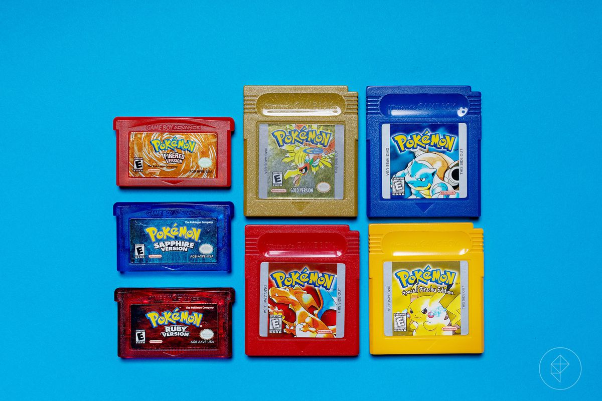 Game Boy cartridges for Pokemon Red, Blue, Gold, Special Pikachu Edition, plus Game Boy Advance cartridges for Pokemon FireRed, Sapphire and Ruby