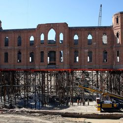 Construction workers work on the new Provo City Center Temple in Provo on Thursday in 2013.