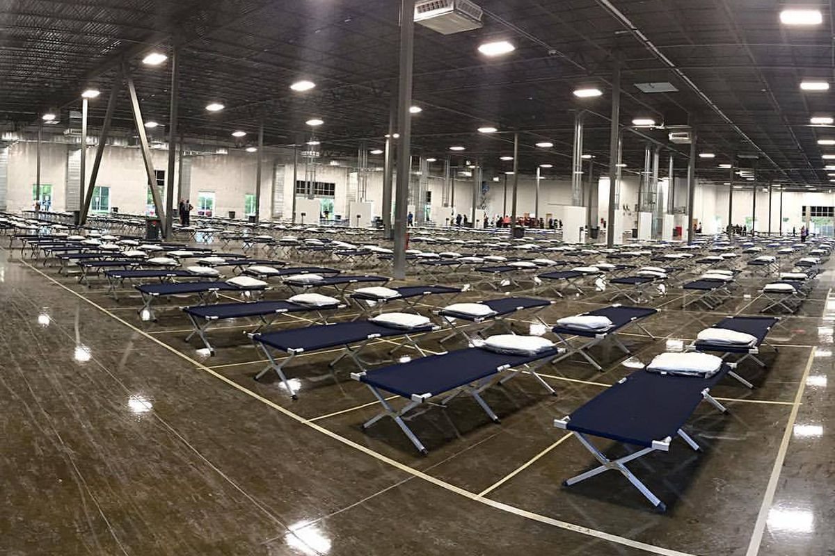 Big room with lots of cots