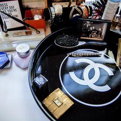 A detail of Rachel's vanity table/writing desk.